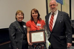 Penn State DuBois Assistant Director of Student Affairs Marly Doty, center, with Commission for Women co-chairs, Carol McQuiggan and David Passmore. (Provided photo)