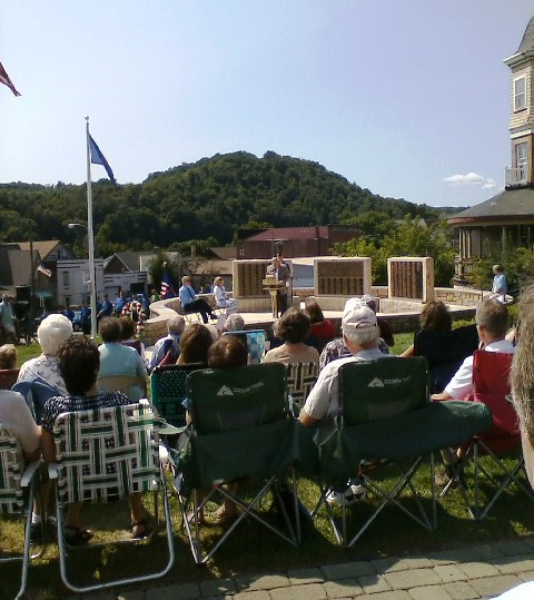 Brig. Gen. Murray A. Neeper, who is retired from the Pennsylvania National Guard, addresses the crowd during the dedication ceremony Sunday for the new World War II Memorial in Curwensville.  (Photo by Julie Rae Rickard)