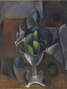 """A detailed view of Pablo Picasso's """"Fruit Dish"""" (1908-1909)"""