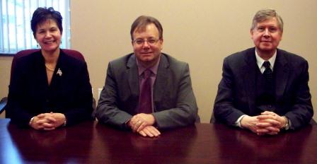 The Clearfield County Board of Commissioners named John A. Sobel its chairperson. Commissioner Joan Robinson-McMillen will serve as the board's vice chairperson. Pictured, from left to right, are Sobel, Commissioner Mark B. McCracken and Robinson-McMillen. (Photo by Jessica Shirey)