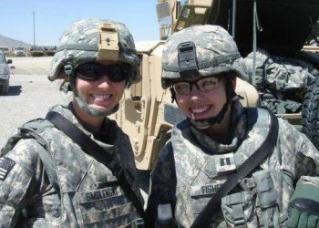 Lt. Candace Fisher, on right, says what matters in the military is not your gender, it is whether a service member can meet the standard