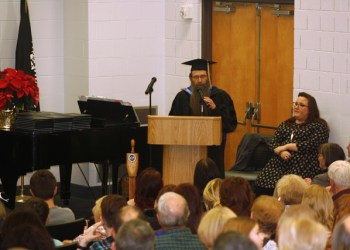 Instructor in Mathematics and DuBois Educational Foundation Educator of the Year John Tolle stressed the value of education to graduates during his commencement address Thursday evening in Hiller Auditorium at Penn State DuBois.  (Provided photo)