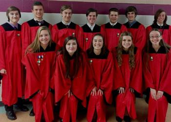Shown are the DuBois Area High School chorus students who participated at the PMEA District 3 Chorus Festival in Marion Center recently. From back left are Dominic Umbaugh, Jonathan Russell, Tom Hibbert, Nick Meholick, Brett Carrier, Max Sensor and Keith Zeliger.  From bottom left are Alexa Alker, Raeanne Reynolds, Kailey Pisani, Emma Reed and Mackenzie Lines. (Provided photo)