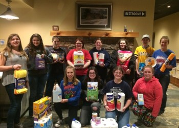 Members of the Clearfield County 4-H Teen Council collected items for the Clearfield County SPCA and the Gateway Humane Society at their March 1 meeting. In the front row, from left to right, are Cassie Folmar, Lindsey Swisher, Lauren Turner and Shelby Flanagan. In the back row, from left to right, are Chloe Pflueger, Genesis Kacsmar, Eric Bradford, Ronni Berlin, Sydeny Turner, Vesta Brickley, Aaron McCloskey and Kyrsten Kowalczyk.  (Provided photo)