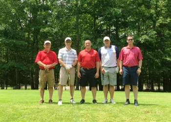 Pictured is the winning team from Boenning & Scattergood along with Joe Bower, president and chief executive officer of CNB Bank.  From left to right are Mick Jones, Randy Black, Bower, Pat Prough and Eugene Bodo. (Provided photo)