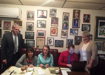 Shown are Mike Ryan, Auditors Brenda Terry, Tracy Wilkinson and Adam McGary and Debbie Bowser. (Provided photo)