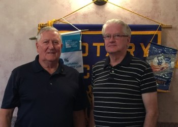 Pictured are Jack West, Rotary Club president, and Sopic. (Provided photo)