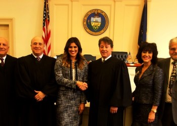 Pictured are Judge John Cherry of Dauphin County; Clearfield County Judge Paul Cherry; Lee Grace Valigorsky; Clearfield County President Judge Fredric Ammerman; and Attorney Toni M. Cherry, Esq. and her husband, Dr. P. Joseph Valigorsky II. (Photo by GANT News Editor Jessica Shirey)