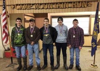 First place was the Owl Patrol of Troop 83 from Johnsonburg. Pictured, from left, are: Mason Milliard, Matt Berger (patrol leader), Christian Krug, Kolton Mehalko and Scott Lewis. (Provided photo)