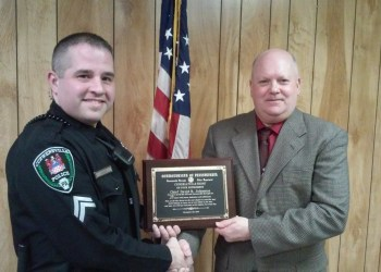Shown are Curwensville Police Chief Mark Kelly with David Johnson, former chief. (Photo by Wendy Brion)