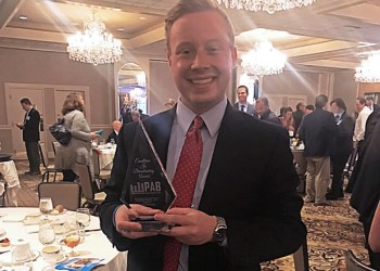 WJAC-TV reporter Dillon Richards accepted the Pennsylvania Association of Broadcasters Award for Outstanding Television Feature Story at the association's luncheon on Monday. (Provided photo)
