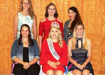 Pictured, in front, are: Rebecca Liddle, Fair Queen Emily Andrulonis and Jayna Vicary. In back are: Kyrsten Kowalczyk, Sarah Simcox and Brittney Minnich. Missing from photo is Sydney Spencer (Photo by GANT News Editor Jessica Shirey)