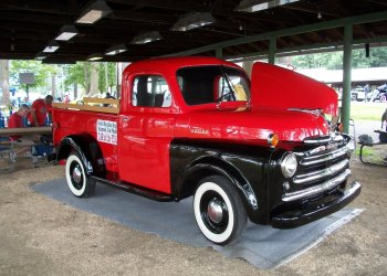 """This 1948 Dodge B100 was the Central Mountains Region AACA's """"Car of the Year."""" It is owned by Walt and Jean Gormont of Clearfield and was on display under the wilderness shelter at the 42nd annual Antique and Custom Auto Show at the Clearfield Driving Park on Aug. 19. (Provided photo)"""