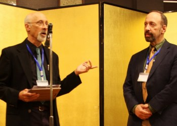 Paul Lewis, professor of English at Boston College, left, presented Distinguished Professor of English Emeritus Richard Kopley with the Lifetime Achievement and Service Award from the Poe Studies Association (PSA) at the 2018 International Poe and Hawthorne Conference in Kyoto, Japan. (Provided photo)