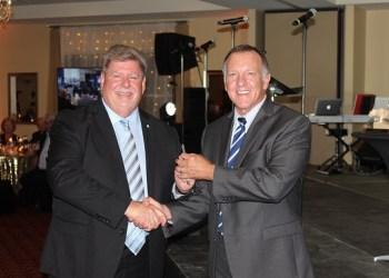 Chancellor M. Scott McBride, left, with DEF President Craig Ball. (Provided photo)