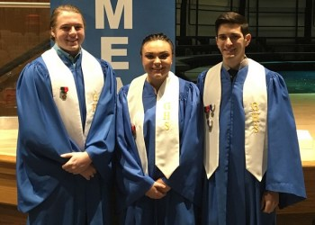 Pictured, from left to right, are seniors Gerry Lowe, Raylene Simmers and Jeremy Magnetti.   Special recognition goes to Magnetti, who has made Regional Choir all three years that he has been eligible (grades 10-12).  (Provided photo)