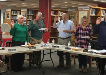 Re-elected Clearfield school board members took their oath of office Wednesday night. Pictured, from left, are Gail Ralston, Mary Anne Jackson, Tim Morgan, Phil Carr, Susan Mikesell and Larry Putt. (Photo by GANT News Editor Jessica Shirey)