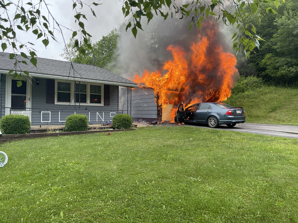 Multiple Crews Respond to Vehicle/Garage Fire