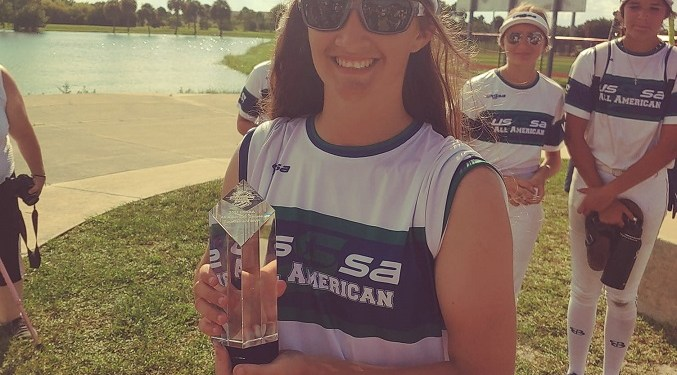 All smiles! On Aug. 7 after her team was victorious in the USSSA All-American Softball Games 14U All-Stars Championship Game, Greysyn Gable was recognized as the team's MVP. (Provided photo)