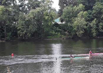 Pictured are Alan McCracken and his Aunt Dawn, on the Allegheny River at USCA Nationals Held in Warren. (Photo provided by Lynda McCracken)