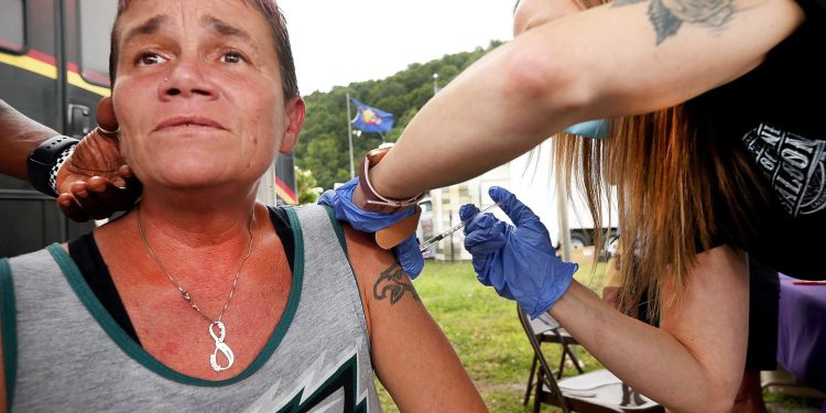 Holley Snyder, 45 of Hanover Township in Luzerne County, received the Johnson & Johnson vaccine at the Wayne County Fair.  Fred Adams / For Spotlight PA