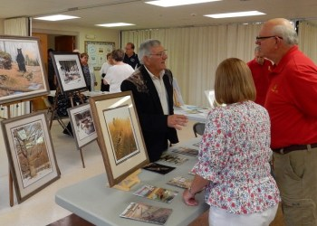 Ken Hunter chats with guests before the DuBois Area Historical Society's dinner.