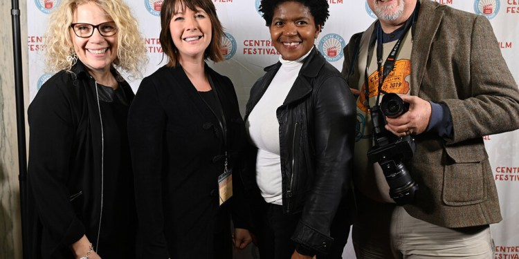 Members of the Bellisario College team that make the Centre Film Festival possible — as they have since the inaugural event in 2019, when this picture was taken — include (from left): Pearl Gluck, Tasha Boujaily, Renea Nichols and Curt Chandler. Image: Penn State