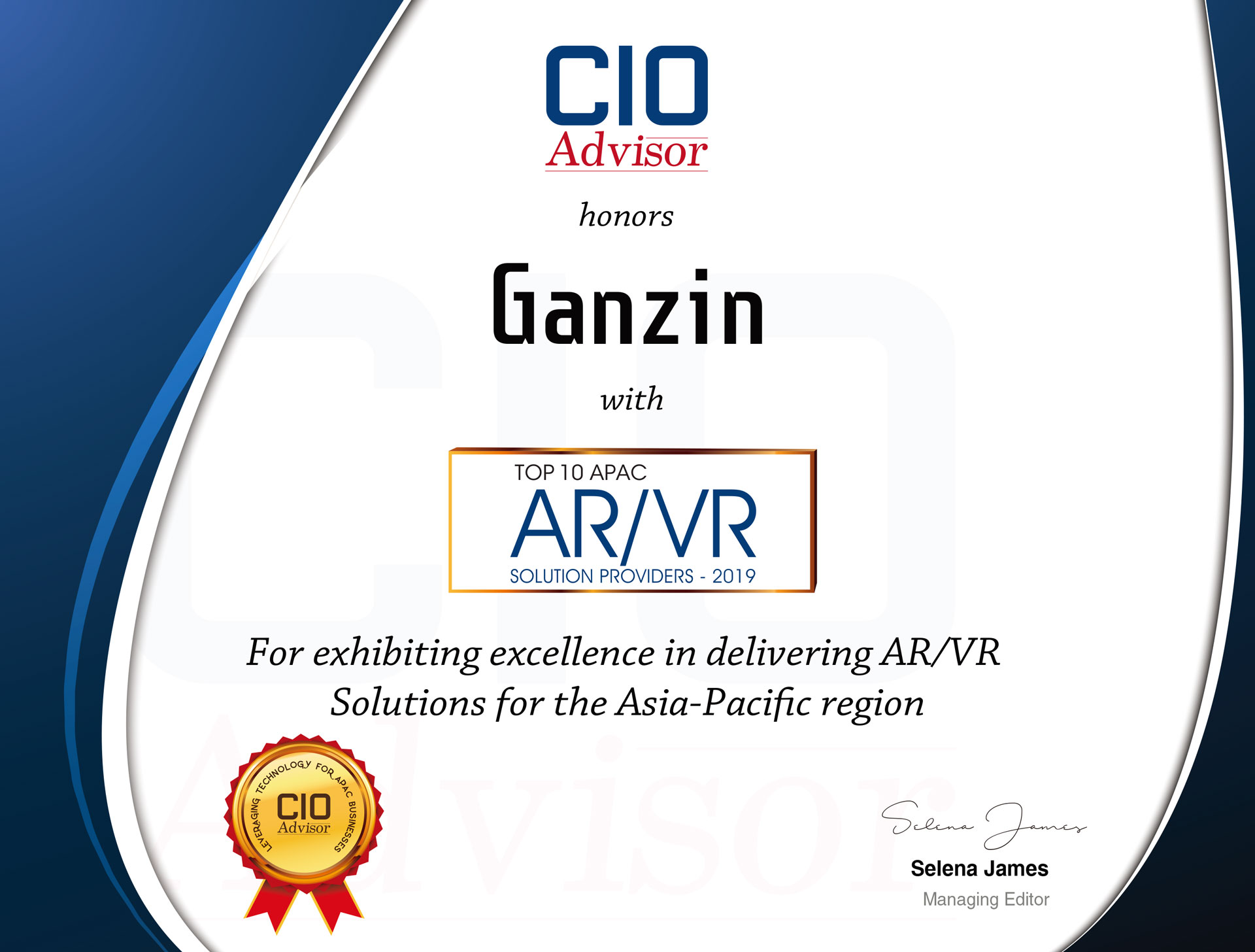 Ganzin was selected as The top 10 AR/VR solution provider of 2019 by CIO Advisor APAC