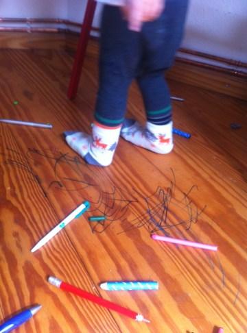 Filzstift, Parkett, Kinder malen, Chaos