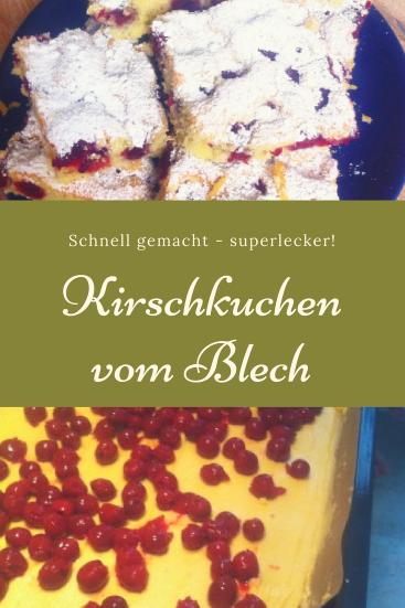 Schneller leckerer Kirschkuchen vom Blech: Dieser Blechkuchen mit Kirschen ist saftig und locker und schmeckt auch Kindern.