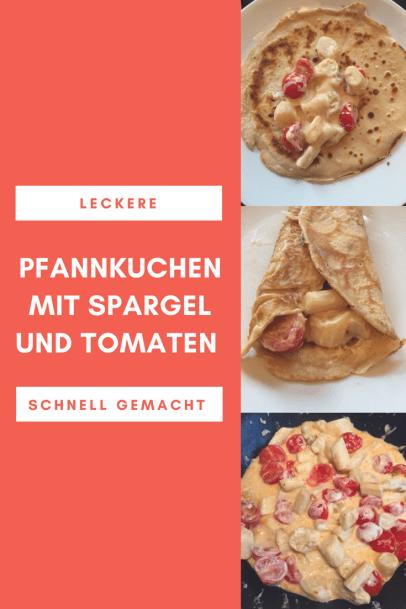 Schnelles Rezept für herzhafte Pfannkuchen mit Spargel und Tomaten: Die Füllung aus Kirschtomaten und grünem oder weißem Spargel schmeckt auch Kindern.