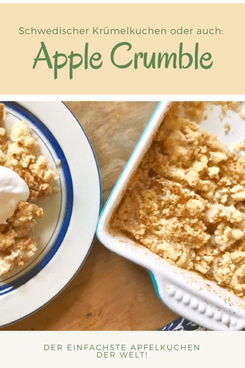 Rezept für schwedischen Apfelkuchen mit Krümelteig - schneller Apple Crumble wie bei Astrid Lindgren - Streuselkuchen aus Schweden mit Äpfeln #backen