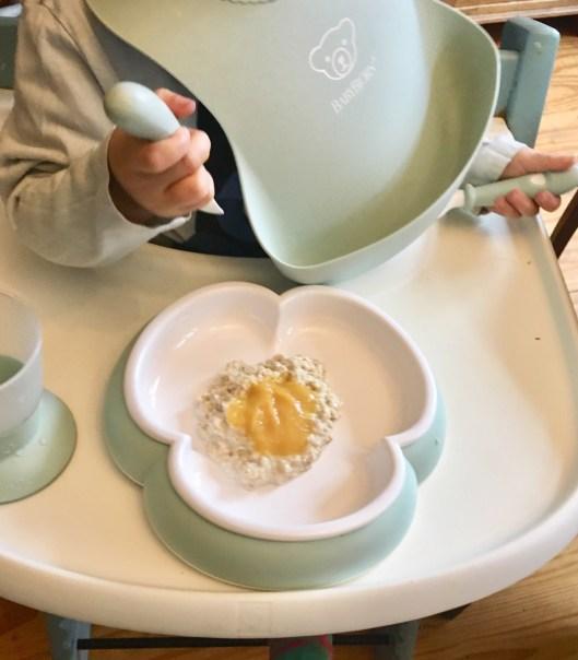 Werbung - Rezept für porridge für Babys und Kleinkinder und Variationen für erwachsene - RezeptideeN für Haferbrei und Vorstellung des Babybjörn Kindergeschirrs