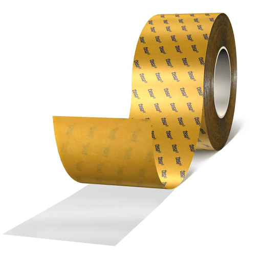 Transparent double-sided tape consisting of a PET backing and a highly tackified adhesive.
