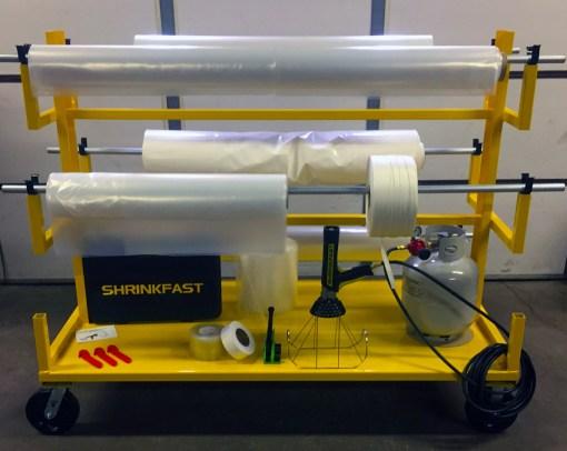 Shrink film dispenser cart