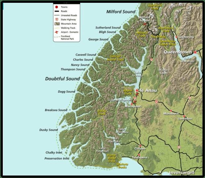 Mapa Fiordlandu