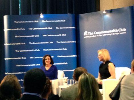 Image of Sheryl Sandberg and Senator Kirsten Gillibrand having a conversation at the Commonwealth Club Event