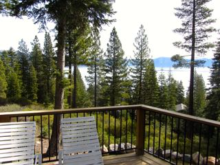 Image of Lake Tahoe view from the deck of a cabin