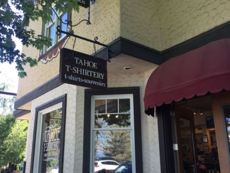 Image of souvenir shop in Tahoe City called Tahoe T-Shirtery