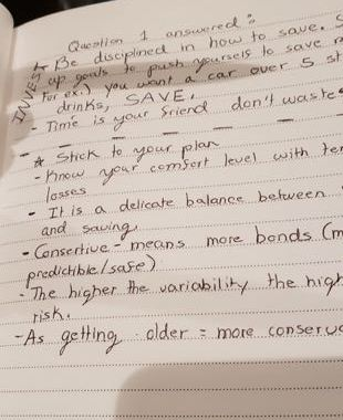 Personal finance notes by one of the high school attendees