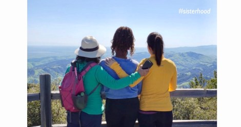 Image of three women hikers looking out into the mountains of Mt. Diablo