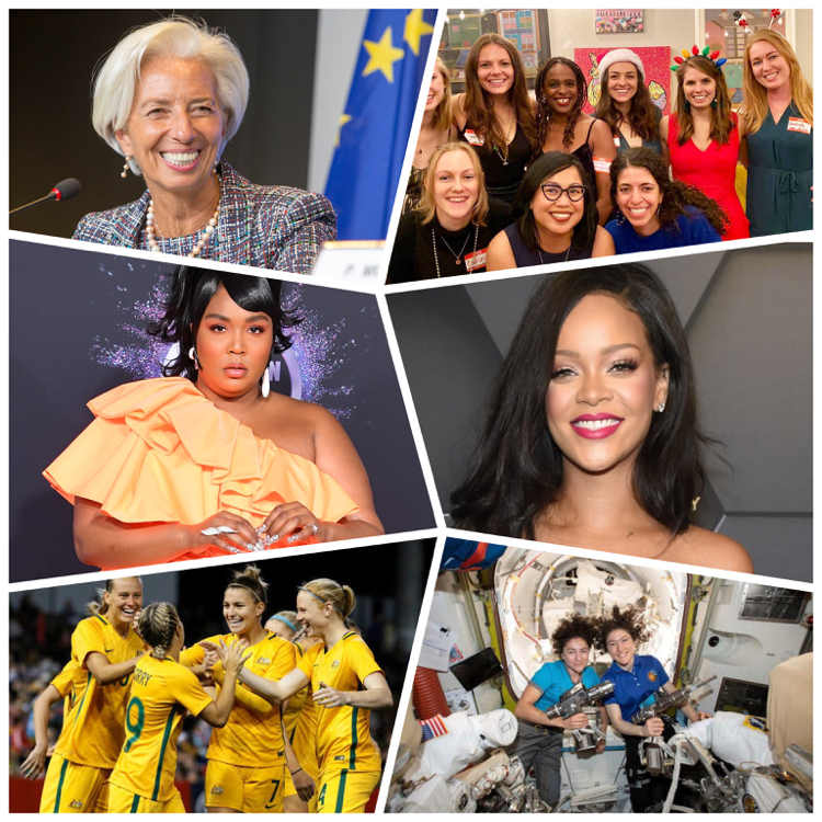 Collage of inspiring women of 2019 - Christine Lagarde, Rihanna, Lizzo, Australia Women's Soccer Team, Women of First Female Spacewalk and Women of LONA