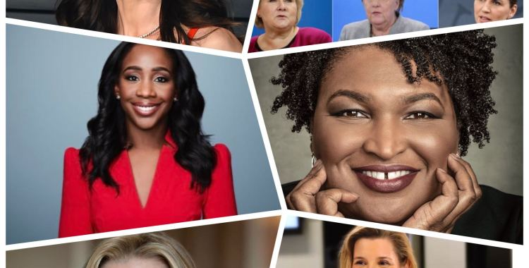 Collage of women - Sarah Blakely, Sallie Krawcheck, Abby Phillip, Stacey Abrams, Mackenzie Bezos, Women Presidents across the world