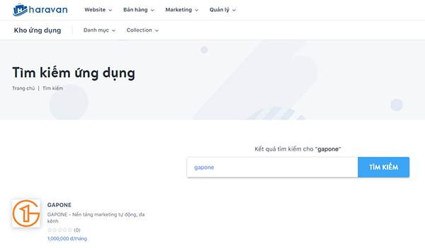 Tìm kiếm GAPONE trong chợ ứng dụng Haravan