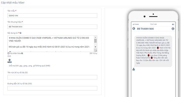 Thay đổi thông tin trong mẫu tin Viber có sẵn