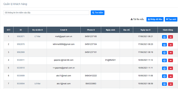 Danh sách khách hàng có trong CRM của GAPONE