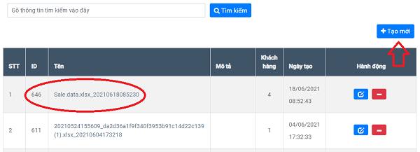 Xem danh sách khách hàng bằng cách clcik vào ID hoặc tên nhóm