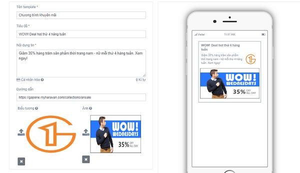 Tạo mẫu tin nhắn Web Push