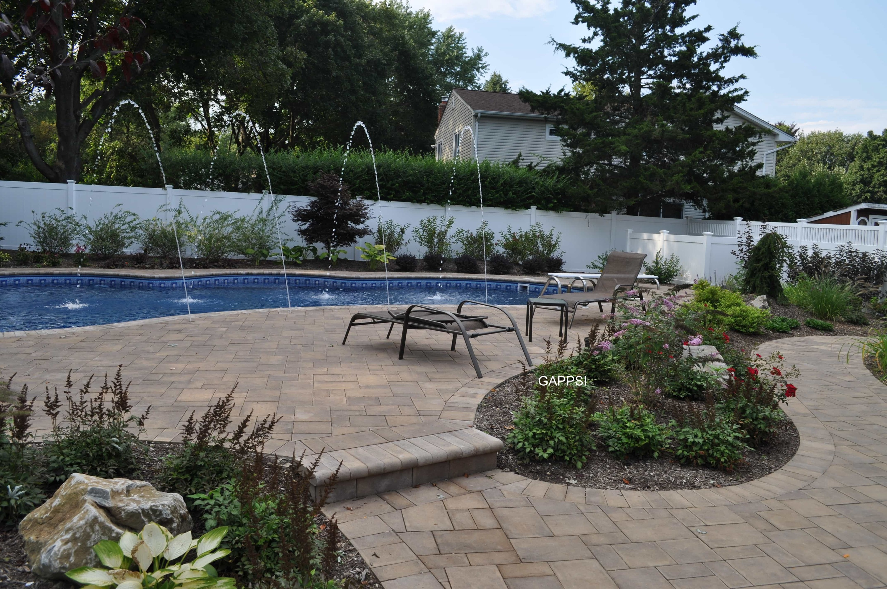 Cambridge Paving Stones And Full Nose Coping Were Used To Pave Pool And  Backyard Patio. To Learn More About Gappsi Products And Services Please  Contact Us ...