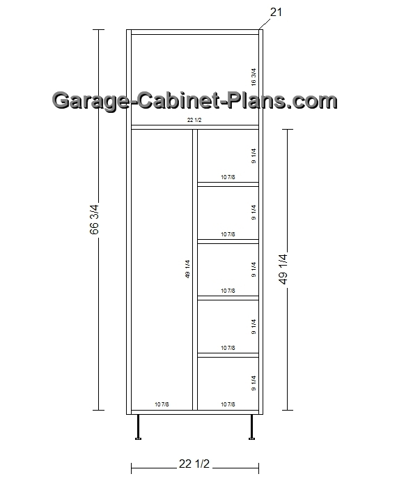 Utility Cabinet Plans - 24 inch Broom Closet - Garage Cabinet Plans